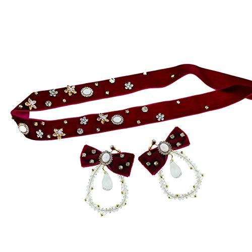 WLYX Chapeaux de Robe de Pain grillé Rouge, Bande de Cheveux Longs en Flanelle Rouge à la Main, Noeud en Cristal, Robe Clip d'oreille et Ensemble d'accessoires