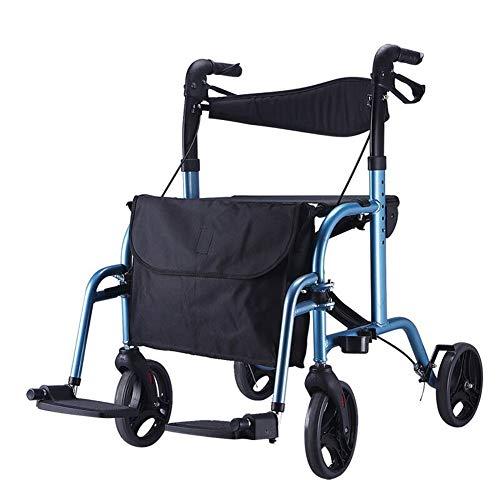 GRAVITY Ältere Gehhilfe Mit Sitz-2 In 1 Rollator Gehhilfe/Falt-Transfer-Rollstuhl Für Behinderte Und Patienten Mit Eingeschränkter Mobilität