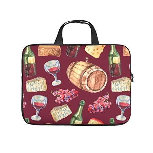 Facbalaign Funda para portátil con diseño de botella de vino de uva, portátil, resistente a los arañazos, con asa., blanco, 10 pulgadas,