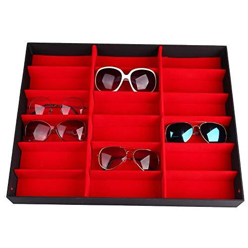 Organizador de Gafas - 18 Rejillas Estuches de Almacenamiento de Pantalla de Gafas Caja de Gafas de Sol con Tapa Plegable, Organizador de Gafas, Caja de Almacenamiento de Gran