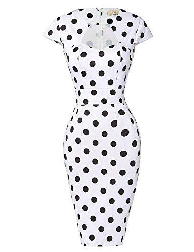 GRACE KARIN Damen 50S Weinlese-Bleistift-Kleid mit Flügelärmeln Wiggle Kleid XXX-Large Weiß schwarz