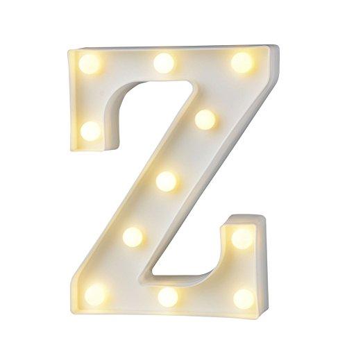 belupai Letras LED con luces del alfabeto para decoración de carpa con luces para fiestas, bodas, recepciones, casas de vacaciones y baño, decoración de bar de novia (Z)