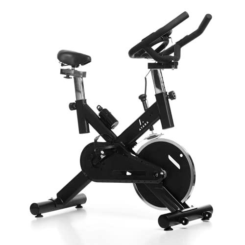 AYARA Bicicleta de Spinning Estatica, Disco de 8 kg ajustable, Medidor de Velocidad, Frecuencia Cardiaca, y Calorías, Pantalla LCD, Cardiovascular, Fitness, Gimnasio, Ejercicio en Casa, Color Negro