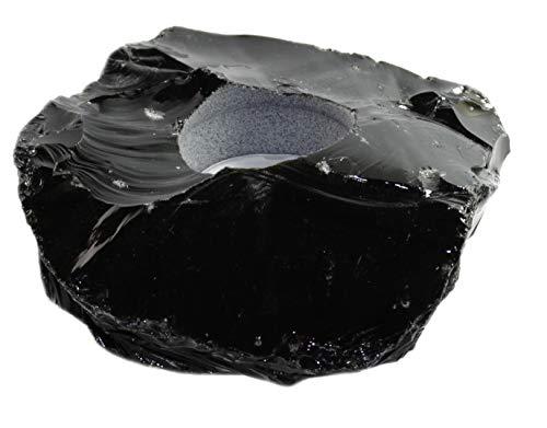 Budawi® - schwarzer Obsidian Teelichthalter Rohstein Kerzenhalter aus Obsidian