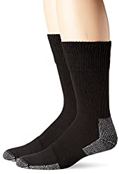Dr. Scholl's Men's Diabetic and Circulatory Work 2 Pack Crew Sock, Black, Sock Size: 10-13/Shoe Size:7-12