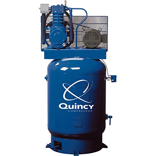 Quincy QT-10 Splash Lubricated Reciprocating Air Compressor with MAX Package - 10 HP, 460 Volt, 3 Phase, 120 Gallon Vertical, Model Number P2103DS12VCB46M