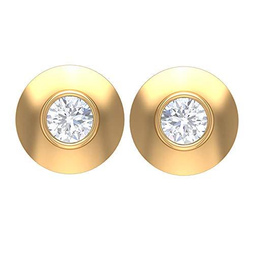 Pendientes de tuerca de diamante con bisel de 1/4 CT (calidad AAA), parte trasera de rosca amarillo