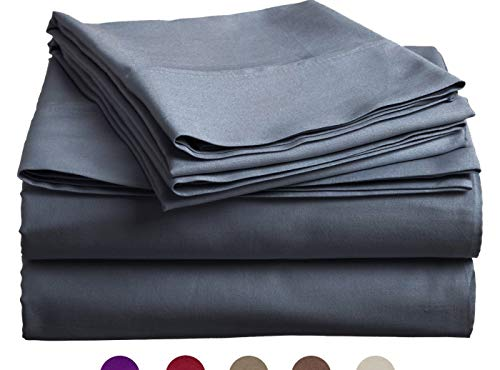 High Strength Natural Bamboo Fiber Yarns Egyptian Comfort 1800 Thread Count 4 Piece Queen Size Sheet Set, Grey-Blue Color