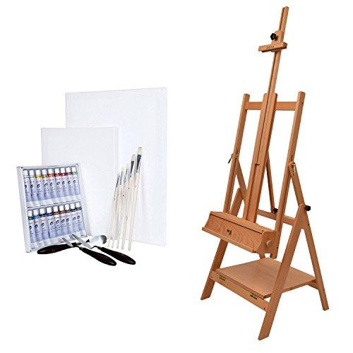 Artina Napoli - Set de Pintura - Caballete de Pintura de Estudio de Madera de Haya, Óleos, lienzos, Pinceles etc.
