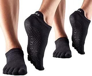 toesox Multi Pack Grip Pilates Barre Yoga Socks – Non-Slip Low Rise Full Toe