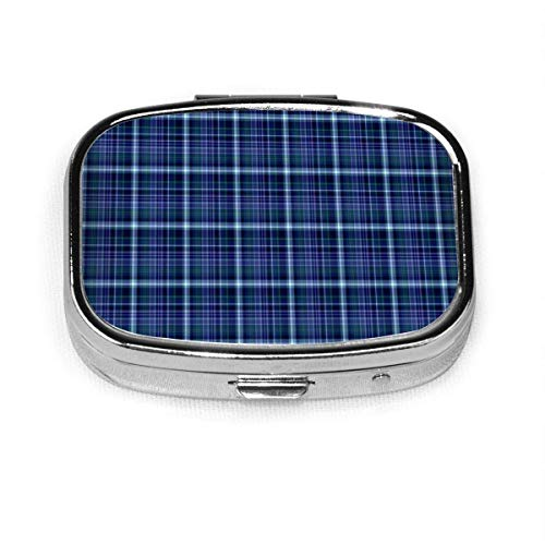 Plaid Fabric Backdrop Food and Drink Custom Personalized Square Pill Box Decorative Box Vitamin Container Pocket Or Wallet