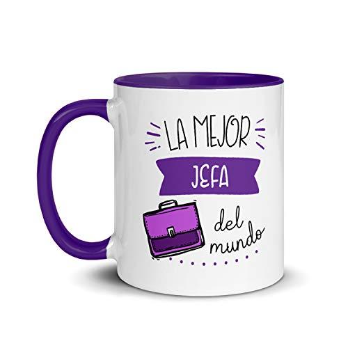 Kembilove Taza de Desayuno de la Mejor Jefa del Mundo – Tazas de Café para Profesionales y Trabajadores para la Oficina – Tazas de Té de Color de Profesiones – Taza de Cerámica de 350 ml