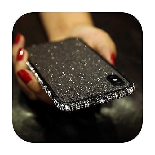 Diamond Bumper On para iPhone XS Max XR 8 7 6 6S Plus Glitter Rhinestone Metal marco con parte trasera + protector de pantalla frontal - negro - para 11 Pro Max