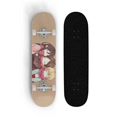 Kssmice Anime-Skateboard, Angriff auf Titan, Ahorndeck Anfänger Verwenden Sie ein 31-Zoll-Doppelkick-Skateboard, ein Vierrad-Doppel-Rocker-Board, ein professionelles Kurzbrett for Straßenmalerei