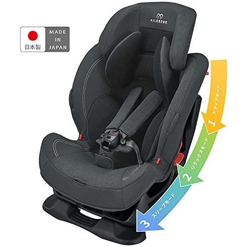 エールベベ チャイルドシート 1歳から 使える シートベルト 固定 スイングムーン プレミアム S ナチュラルダークグレー リクライニング機能付き ALC480