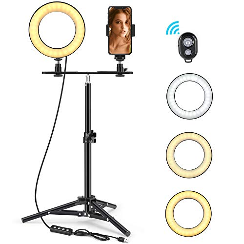 LED Ring Light 6' with Tripod Stand & Phone Holder for Live Streaming & YouTube Video, Dimmable Desk Makeup Ring Light for Photography, Shooting with 3 Light Modes & 10 Brightness Level (High-6')