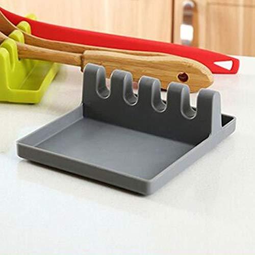 Peanutaor Supports de Cuisine cuillères Pots tampons de Pelle Vaisselle de Table Tapis cuillère tampons de Pelle Supports Pratiques Accessoires de Cuisine + Gris