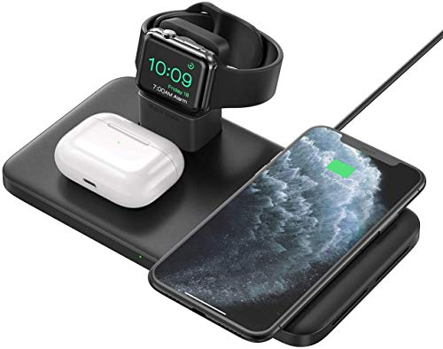 Seneo Caricabatterie Wireless, Stazione di Ricarica Wireless 3 in 1 per iWatch 5/4/3/2, 7.5W Rapida Ricarica per iPhone 12/11/11 PRO Max/SE 2/XS Max/XR/XS/X/8/8P(Non Include QC 3.0 Adattatore)