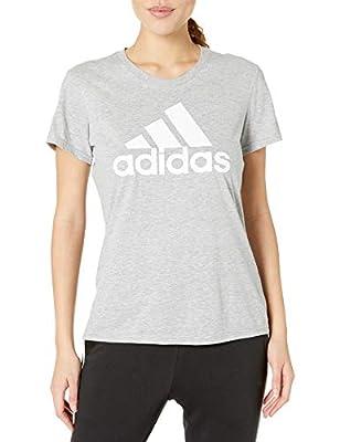 adidas womens Basic Badge of Sport Tee Medium Grey Heather/White Large