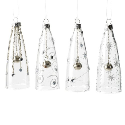 Christmas Direct - Set di 4 palline in vetro per l'albero di Natale, a forma di campana, 10 cm