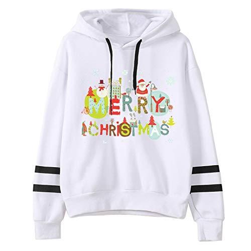 Sulifor Sweatshirt Damen Weihnachtsdruck Langarm Hoodie Herbst Winter Pullover Weihnachten