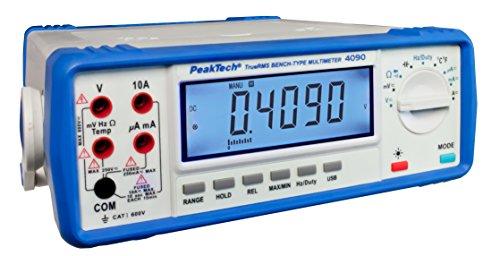 PeakTech 4090 – Multímetro de mesa digital RMS, pantalla LCD, 22000 cuentas, probador de continuidad, USB, software para PC, funcionamiento con batería, prueba de voltaje - EN 61010-1; CAT I 600 V