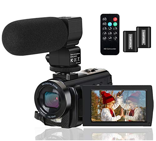 Video Camera Camcorder Digital YouTube Vlogging Camera Recorder FHD 1080P 24.0MP 3.0 Inch 270 Degree...