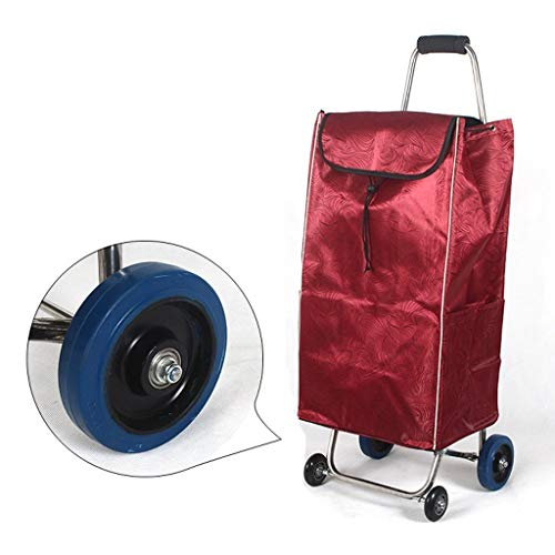 DJY-JY - Carrito de compras de acero inoxidable, 4 ruedas, peso ligero, gran capacidad, con ruedas, bolsa de carrito de equipaje (color: rojo)
