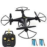 MBEN RC Drone, WiFi PFV 720P en Temps réel vidéo sortante caméra HD Quadcopter, 40 Minutes Temps de vol/Hauteur Tenir 2 Batteries,Black