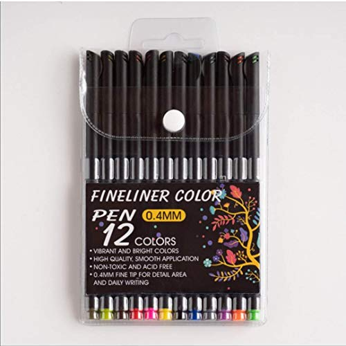 Fineliner-Stifte, 60 Farben, 0,4 mm, feine Spitze, Fasermalstift für Kinder und Erwachsene, zum Ausmalen, Skizzieren, Malen (12 Farben)