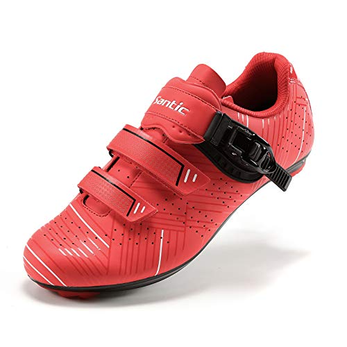 Santic Zapatillas Ciclismo Carretera Zapatillas Bicicleta para Hombres y Mujers Rojo EU 43