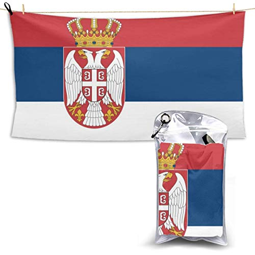 XCNGG Quick Dry Bath Towel, Absorbent Soft Beach Towels, Serbian Flag for Camping, Backpacking, Gym, Travelling, Swimming,Yoga 28.7'' X 51''