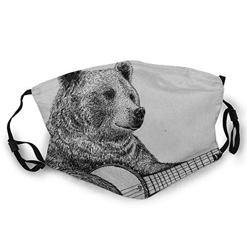FrancisGuo - Máscara facial con estampado de oso grizzly y gorro, cuello y polaina, para mujeres y hombres