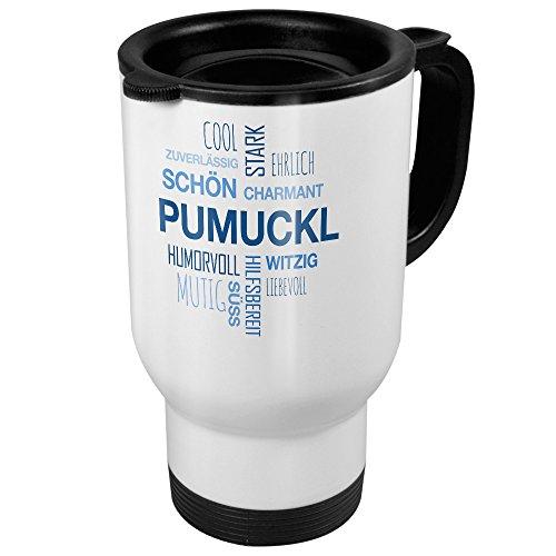 printplanet Thermobecher weiß mit Namen Pumuckl - Motiv Positive Eigenschaften (Tag Cloud) - Coffee to Go Becher, Thermo-Tasse