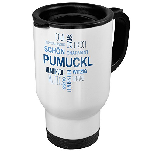 printplanet Thermobecher weiß mit Namen Pumuckl - Motiv Positive Eigenschaften (Tag Cloud) - Coffee to Go Becher, Thermo-Tasse