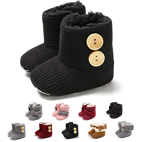 Tcesud Winter Warm Baby Boys Girls Snow Boots Soft Sole Fur Infant Toddler Slip On Bowknot Booties for Baby Girls 0-18 Months(6-12 Months,Black)