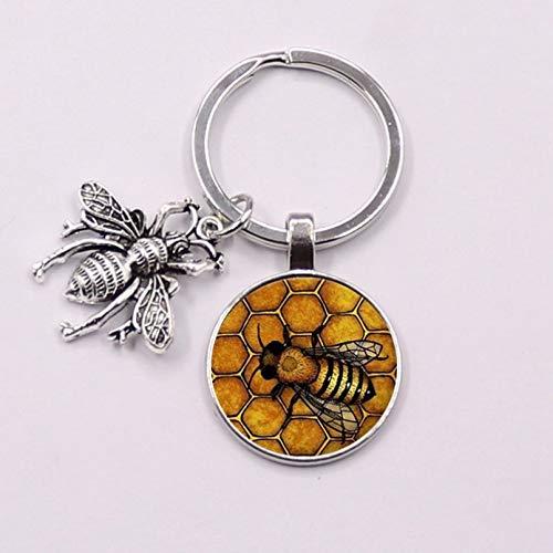 KANGDE cute insect bee keychain geometric honeycomb bee 3D glass dome key chain chain bumblebee trinkets