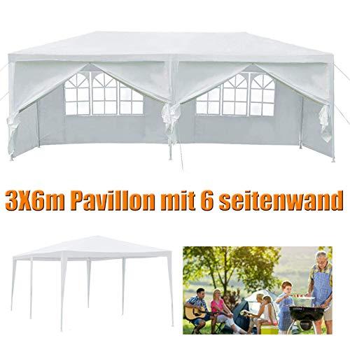 Huini 3x6m Pavillon Gartenzelt (mit 4 Seitenwand) Wasserdichtes Bierzelt Outdoor Party Hochzeit BBQ Einfache Installation Weiß
