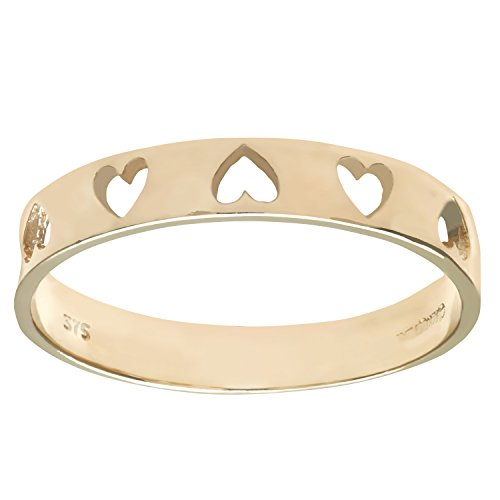 Citerna Women's 9 ct Yellow Gold Heart Ring, Gold,Size - T