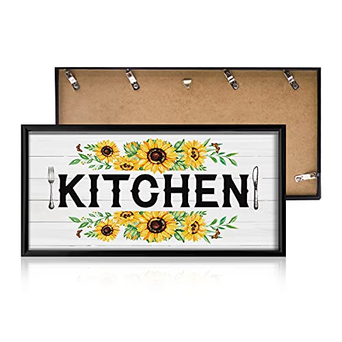 Sunflower Kitchen Decor Sunflowers Garlands Canvas Wall Art with Kitchen Signs Wall Painting Farmhouse Rustic Yellow Home Decorations Watercolor FRAMED