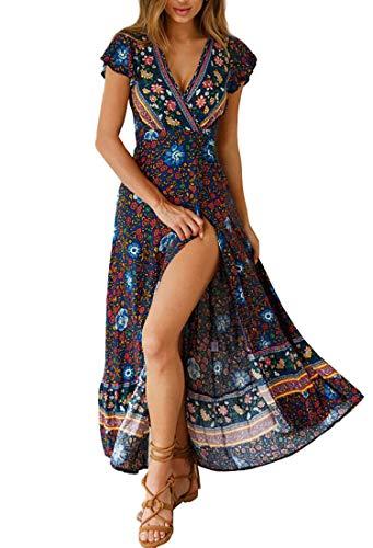 Avondii Damen Boho Kleid Lang V-Ausschnitt Maxikleid Kurzarm Sommerkleid mit Schlitz (S, Z-Blau)