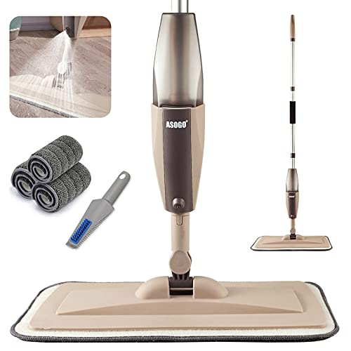 Spray Mop for Floor Cleaning, Floor Mop with a Refillable Spray Bottle and 3 Washable Pads, Flat Mop for Home Kitchen Hardwood Laminate Wood Ceramic Tiles Floor Cleaning (Khaki)