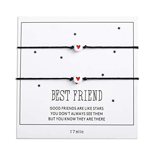 DONTHINKSO 2 Pcs/Set Heart Bead Rope Bracelet Women Men Couple Bangles Good Friends Jewellery Gift for Girls