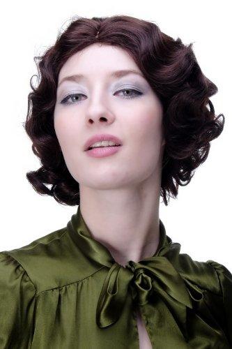 WIG ME UP - Perruque dame années 20 Swing carré ondulé brun acajou env. 25 cm A4002-33