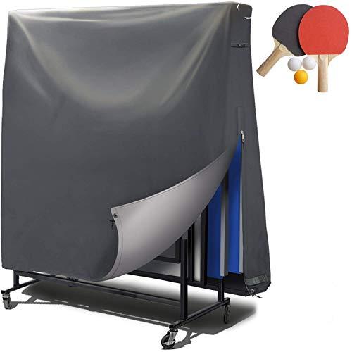 Abdeckung Abdeckplane Tischtennisplatte Schutzhülle outdoor – PVC-Beschichtung / verklebte Nähte / Belüftungsfenster – Hülle für Tischtennis wasserresistent, UV-beständig & winterfest – 185*165*70 cm