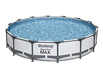 Bestway 56597E Pro MAX Above Ground 14ft x 33in | Steel Frame Round Pool Set | No Tools Required 14  x 33  Grey