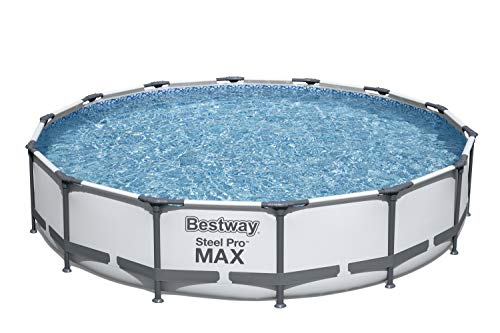 Bestway 56597E Pro MAX Above Ground, 14ft x 33in | Steel Frame Round Pool Set | No Tools Required, 14  x 33 , Grey
