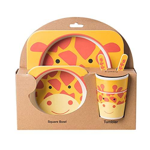 BESTONZON 5 pz bambù fibra Cartoon giraffa bambini posate set ambientale amichevole bambini stoviglie set bambino piatto di alimentazione