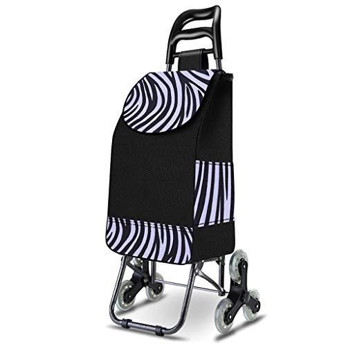 Einkaufstrolleys Faltbare Trolley, Metallrahmen Folding Einkaufswagen, 6-Rad-Multifunktionseinkaufswagen, Leichtbau abriebfest und leicht Mikrofaser Material, tragbare Shopping Trolley ( Color : E )