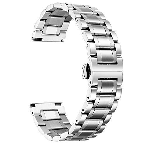Cinturino Per Orologio In Acciaio Inossidabile,Bracciale In Metallo Con Estremità Diritte E Curve (Oro,Argento,Nero,Oro Rosa,Due Tonalità) - 12,14,16,18,19,20,21,22,24 mm (22mm, Argento)